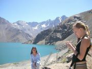 Bath in warm thermal water, trekking to cascade and mountain lake, great views to huge glaciers and the turquoise El Yeso dam