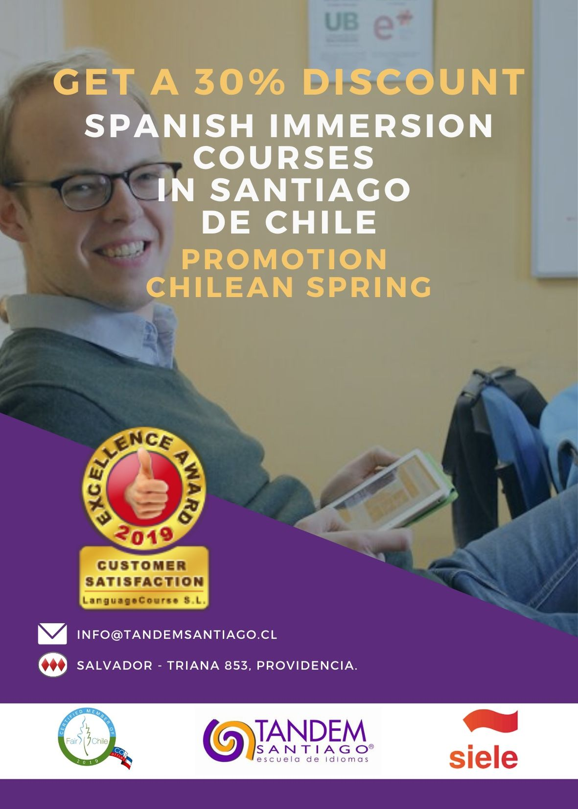 30 % discount at tandem Santiago for spanish group courses